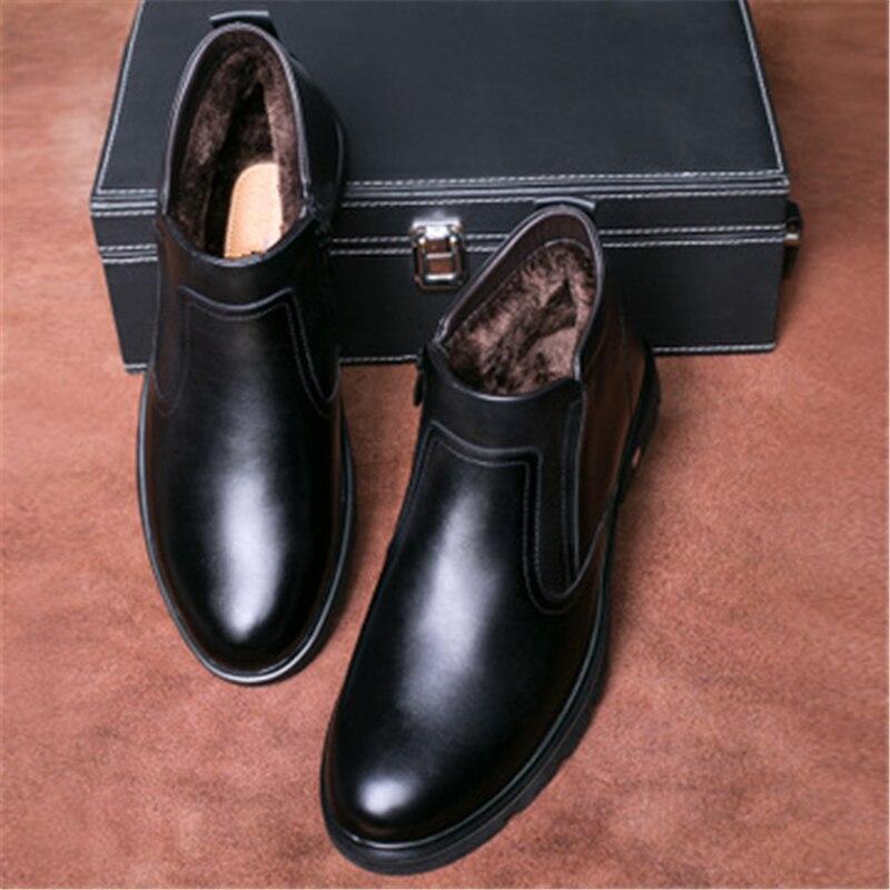 Nova Inverno Neve Sapatos Pelúcia E Chegada Do 061 Confortável Botas Quente Algodão Homens De Tornozelo Preto Dividir marrom Couro AxAr4wqC