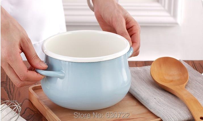 Dani Чжан голубой эмалью утолщаются Эмаль горшок одной нижней многофункциональный горшок холоднокатаной стали 1.5L 20.5x14.5 см