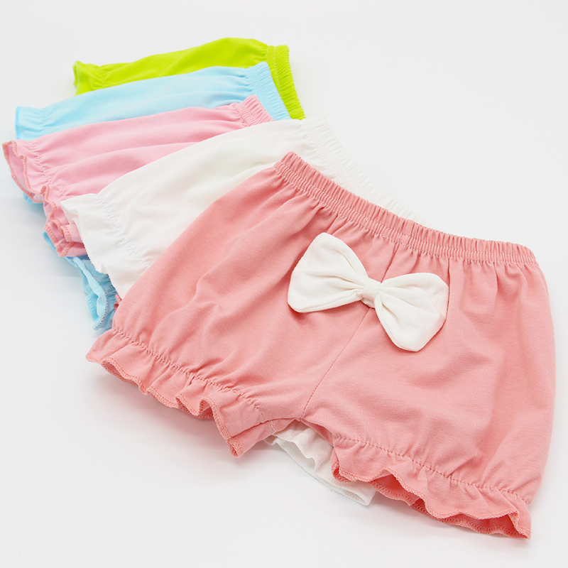 4pieces lot Girls shorts kids knickers cotton soft cute bowknot Pure Color chlidren underpanties free shipping in Shorts from Mother Kids