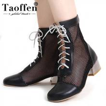 TAOFFEN New Arrivals Plus Size 33-45 Dropship Ankle Boots Chunky Heel Shoes Women Hollow Air Mesh Woman Office Lady Summer