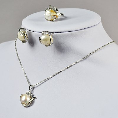 Pearl Necklace - 18 Inches White Fresh Water Pearl Necklace Set, Wedding Necklace, Fashion necklace Fn0268