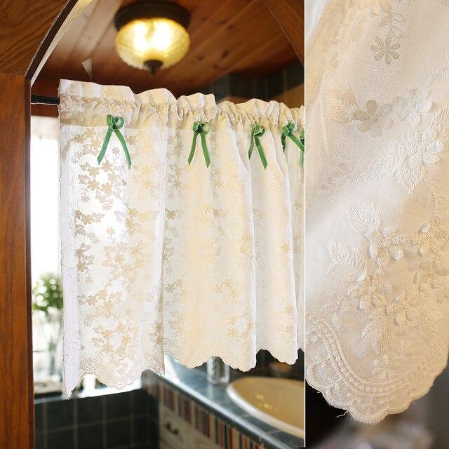 Senisaihon белые цветы половина-занавес Европа вышитые тонкий хлопок Римский занавес подол кофе занавес для кухни двери шкафа
