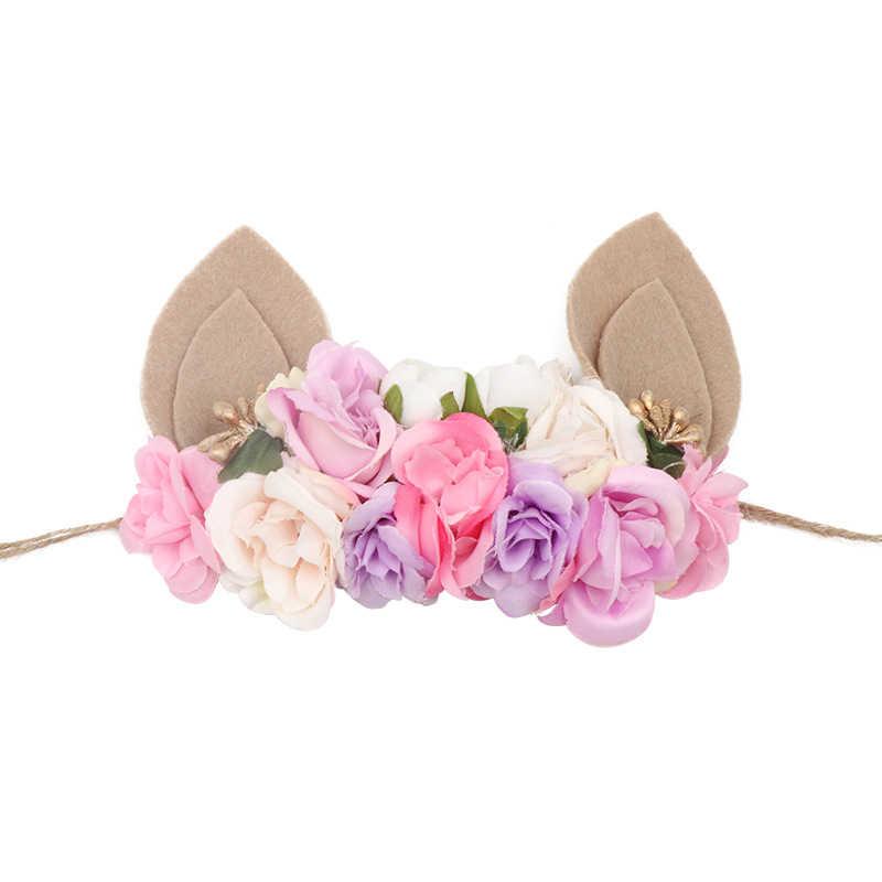 Пасхальное оголовье кролика маленькая повязки в виде кролика день рождения принцесса Hairwear Дети Девочка веревка с цветочным принтом кролик цветок уха головной убор