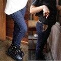 2014 новых осенью и зимой детские джинсы, девушки вязать джинсовые брюки, дети случайные блестки брюки