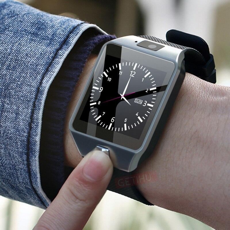 GETIHU DZ09 reloj inteligente reloj Digital Reloj de los hombres para Apple iPhone Samsung Android Teléfono móvil Bluetooth tarjeta SIM TF Cámara