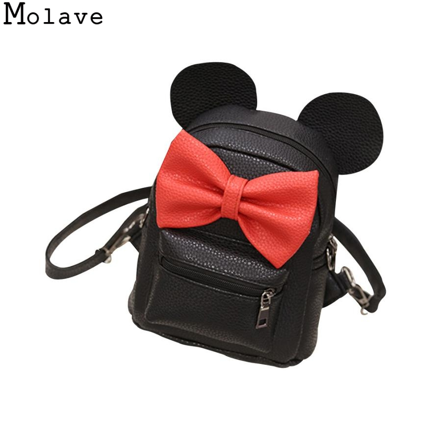 New Mickey Backpack Pu Leather Female Mini Bag Women's Backpack Sweet Bow Teen Girls Backpacks School Bag Mochila Feminina DEC15 children school bag minecraft cartoon backpack pupils printing school bags hot game backpacks for boys and girls mochila escolar