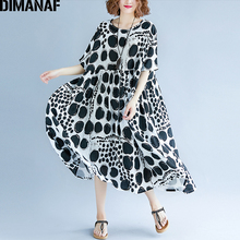 DIMANAF נשים קיץ שמלה בתוספת גודל Femme גדול Vestidos בגדי הדפסת דוט שחור אלגנטי ליידי מקרית Loose פשתן ארוך שמלות