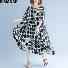 DIMANAF النساء فستان صيفي حجم كبير فام الملابس Vestidos كبيرة طباعة نقطة سوداء أنيقة سيدة عادية فضفاض الكتان فساتين طويلة