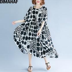 DIMANAF Women Summer Dress Plus Size Femme Large Vestidos Clothing Print Dot Black Elegant Lady Casual Loose Linen Long Dresses