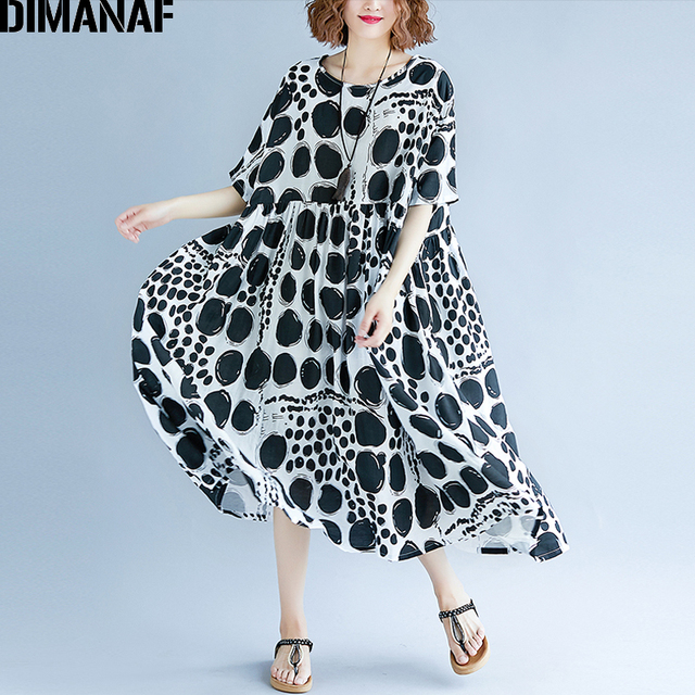 95f67d0330e DIMANAF Women Summer Dress Plus Size Femme Large Vestidos Clothing Print  Dot Black Elegant Lady Casual Loose Linen Long Dresses