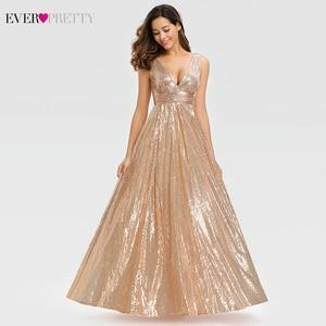 Image 2 - Женское вечернее платье с блестками Ever Pretty, розовое золотистое платье трапеция в стиле Саудовской Аравии, с V образным вырезом, для торжественных вечеринок, EP00825RG, лето 2019