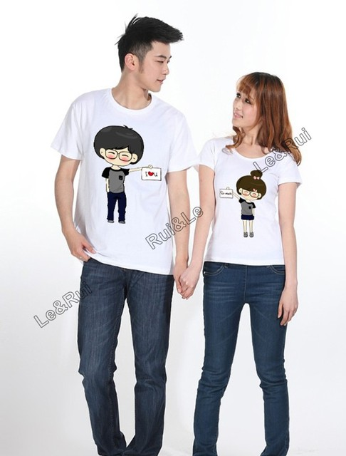 93582130 men women fashion couple t shirt tops for 2015 lovers summer clothes  printed brand designer cartoon boy girl i love you bow lace