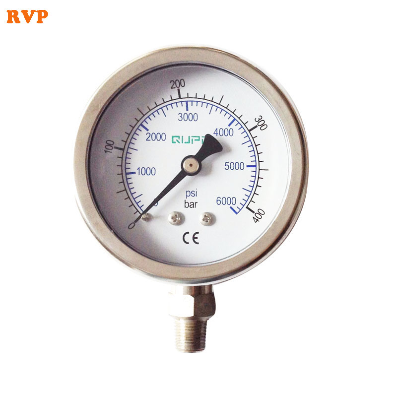 New PCP Paintball High Pressure Gauge Oil Filled 63mm Gauges Stainless Steel Connection 1/8NPT 1.6 Accuracy Free Shipping