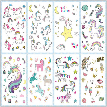 Rocooart Cartoon Unicorn Tattoo For Kid Cute Fake Taty Children Tatouage Temporaire Body Art Waterproof Temporary Tattoo Sticker