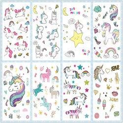 Tatuaje de unicornio de dibujos animados para chico tatuaje falso lindo tatuaje temporal arte corporal a prueba de agua tatuaje temporal pegatina