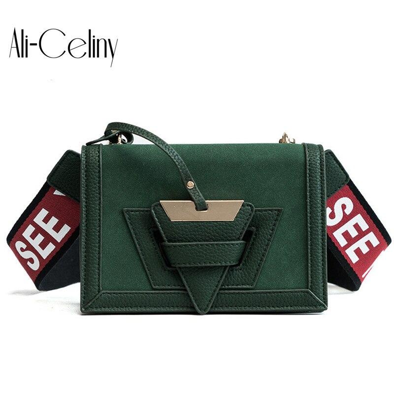 2017 New Scrub Letter Strap Crossbody Bags For Women Designer Handbags Patchwork Geometry Triangle Shoulder Messenger Bags