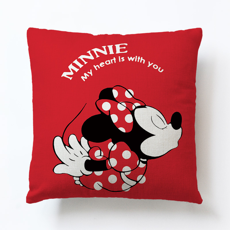 Pillow Cover Love Heart-shaped Cushion Car Office Backrest Lower Back Pillow Lovely Cartoon Mickey Mouse Couple Siesta