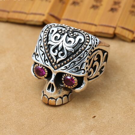 NEW Handmade 925 Silver Skull Ring Male Ring Vintage Silver Skeleton Man Ring Pure Silver Male Ring Jewelry Gift