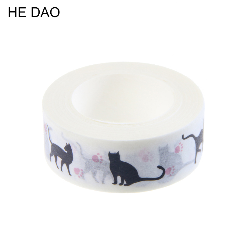 1 PC New 15 Mm * 10m Cartoon Black Cat Print Japanese Paper Washi Tapes Masking Tape Decorative Adhesive Tapes