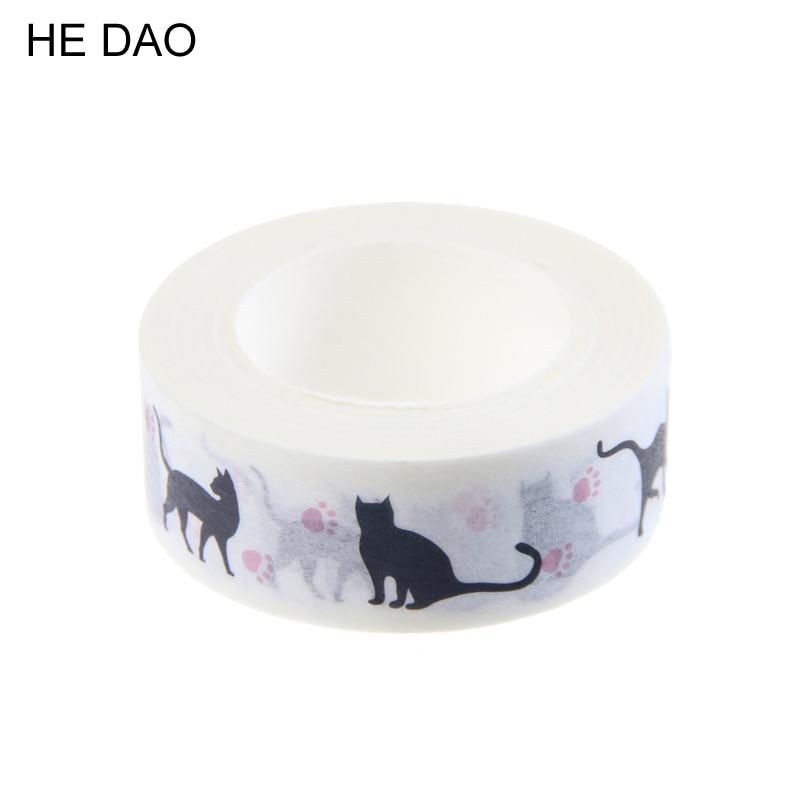 1 PC New 15 Mm * 10m Cartoon Black Cat Print Japanese Paper Washi Tapes Masking Tape Decorative Adhesive Tapes цена