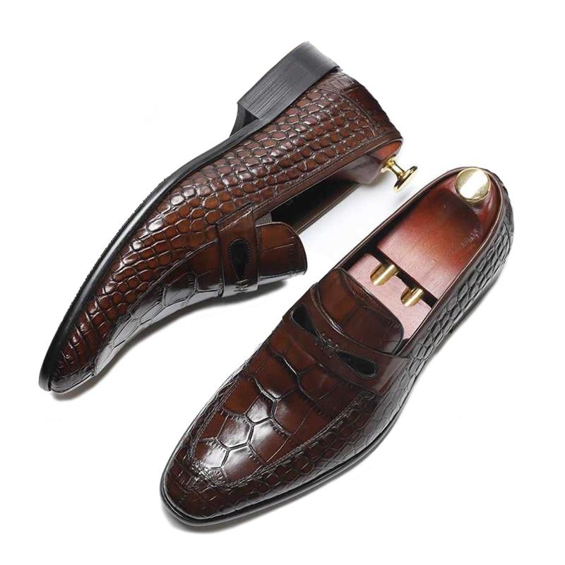 Britannique Occasionnels Cuir Luxe Ronde De Appartements Robe Véritable Ss268 Formelle Hauteur Mocassins marron Hommes Slip Chaussures Toe Noir Croissante On Homme Parti FxOw8xq0