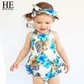 ELE Olá Desfrutar da menina roupa Do Bebê Romper Do bebê roupas de Verão menina conjunto infantil de roupas china 3 pcs Azul headband do + camisa + calça
