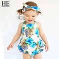 HE Hello Enjoy Baby girl clothes Romper Summer baby girl clothing set infant clothing china 3pcs Blue headband + shirt + panty
