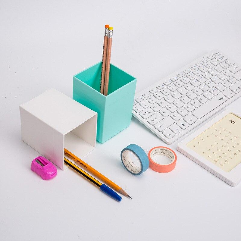Square Plastic Pen Holder Simple Office Desktop Storage Practical And Beautiful Pen Holder