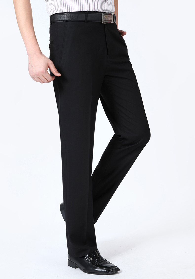 HTB1.2Z7mhSYBuNjSsphq6zGvVXaU Summer Men Business Thin Silk Pants 29-50 Male Big Size Formal Classic Black Breathable Office Baggy Suit Trousers For Mens