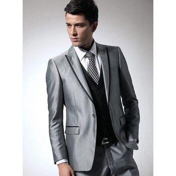 e097e786c8 Hombres de negocios formal traje brillante astilla novio Trajes para hombres  slim fit partido juego del novio (jacket + pantalones + chaleco a118