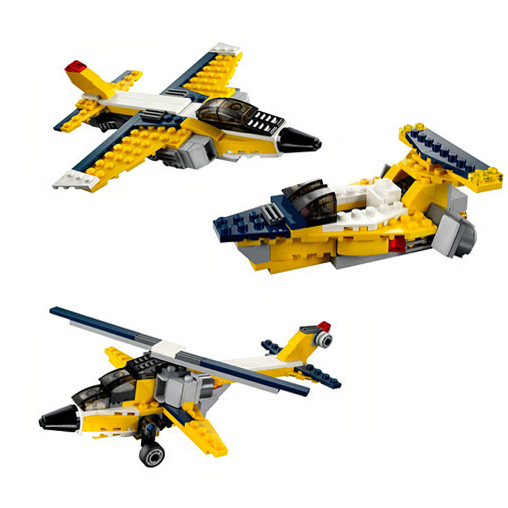 130pcs 3in1 Children's Educational Toy Airplane Model Puzzle med Plastic Assembly Toys Gaver