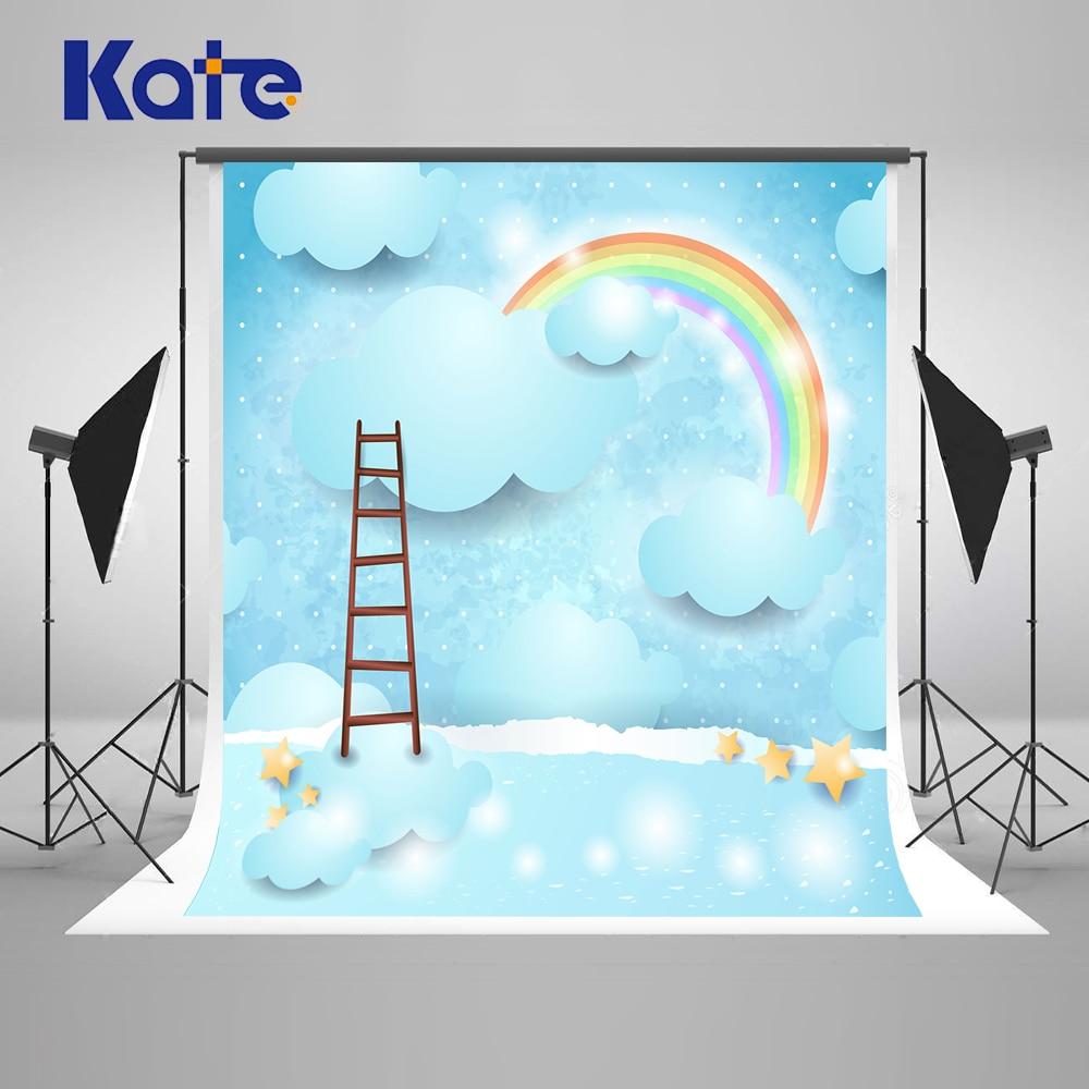 Kate 10ft enfants fond pour la photographie bleu ciel nuages photographie arrière-plans échelle arc-en-ciel arrière-plans pour Studio de Photo