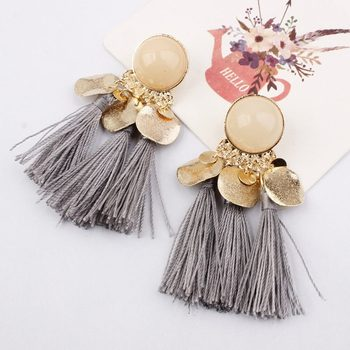 Ethnic Bohemia Women Dangle Drop Earrings Summer Round Resin Tassel for Women Fashion Jewelry 3