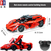 Technic Remote Control RC Red Storm Sport Racing Car Building Blocks Bricks Compatible Legoing toys for children birthday gifts