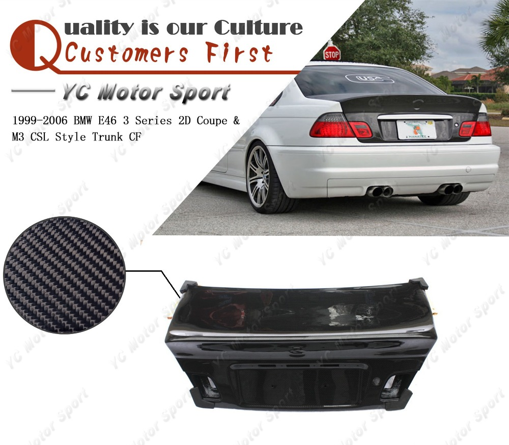 Car Accessories Carbon Fiber CSL Style Trunk Fit For 1999-2006 E46 3 Series 2D Coupe & M3 Rear Boot Lid Tailgate Car-styling
