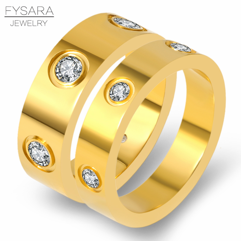 4mm 6mm Classic Love Ring Titanium Steel CZ Crystal Ring Luxury Famous Brand Wedding Ring For Women Gold Color Lovers Jewelry 1