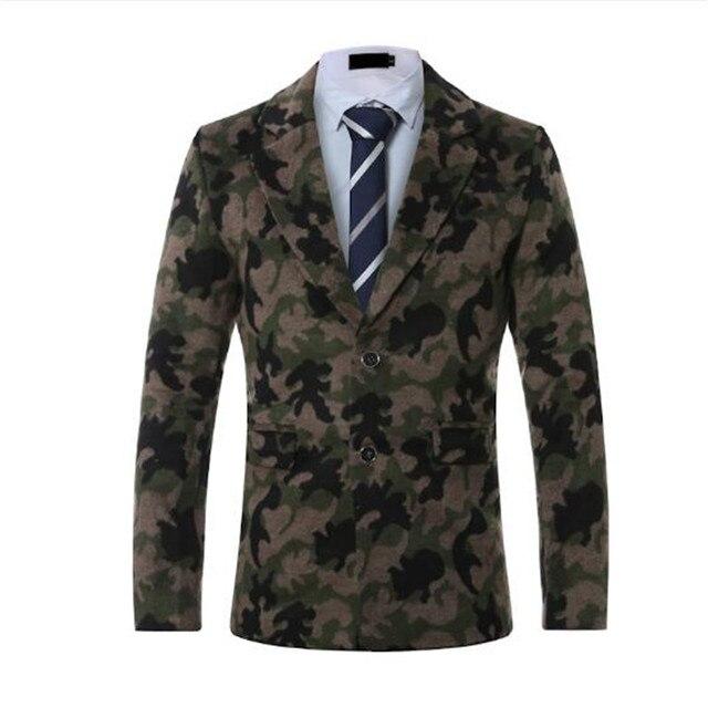 fa6efd6c1fa7 Neue Winter Herbst Männer Blazer Mode Beiläufige Dünne Camouflage Woll  Warmen Kleid Anzüge Jacke Mantel Hochzeit