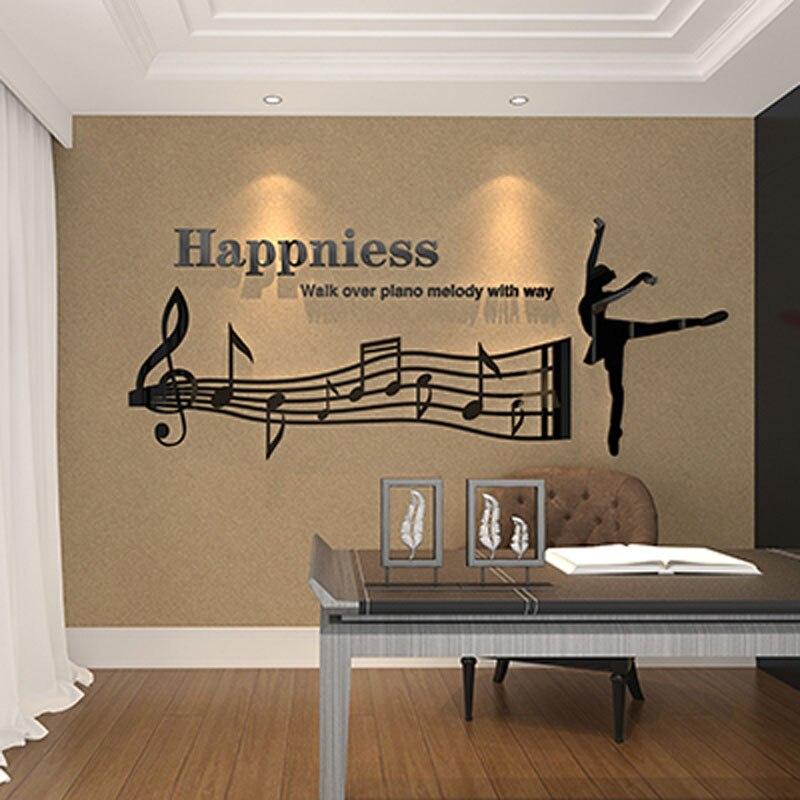 Bonheur Ballet fille Design acrylique autocollants bricolage Sticker mural pour salon Art danse école décorations murales cadeau d'anniversaire