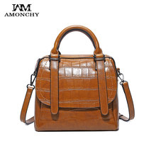 AMONCHY Brand Women Genuine Leather Handbags Fashion Stone Pattern Shoulder Bag Real Cowhide Ladies Tote Bags Casual Handle Bags