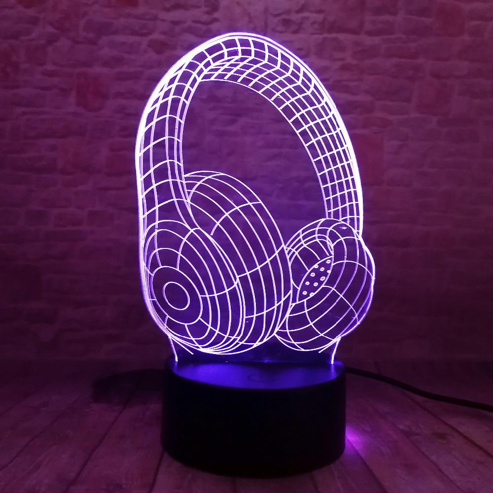 Nyhet 3D Cool 7 färgbytande headset LED nattlampa barn färgglada - Nattlampor - Foto 4
