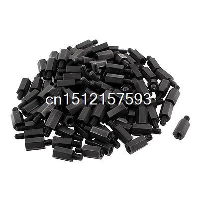 M4 Male to Female 12mm+6mm Nylon Fixed PCB Spacer Hex Stand-Off Pillar 50pcs 50 pcs m3 7mm 6mm male female thread nylon pcb hex stand off screw spacer