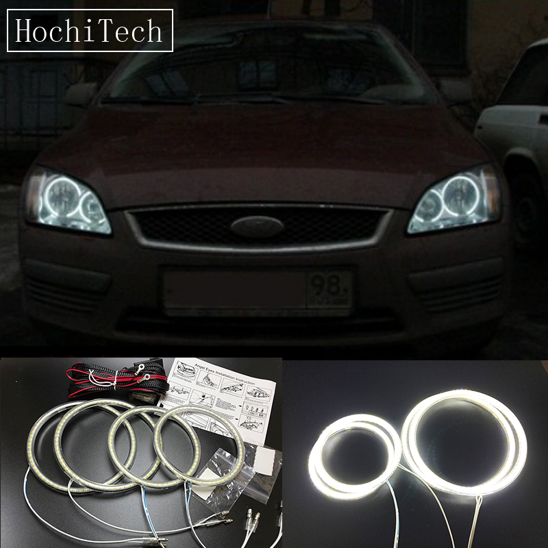 HochiTech Ultra bright SMD white LED angel eyes 2500LM halo ring kit daytime running light DRL For Ford Focus II Mk2 2004-2008