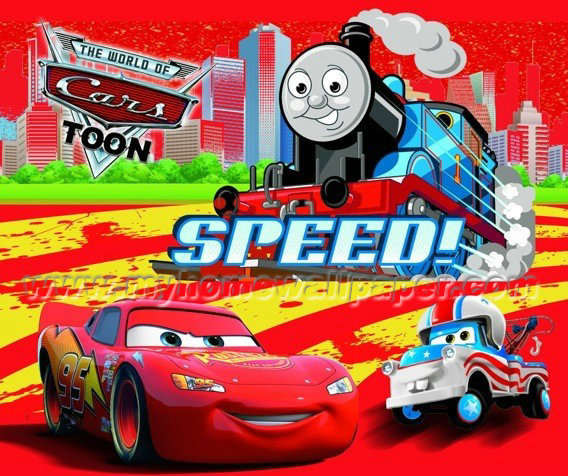High Quality Thomas Train 3d Wall Paper Cartoon Mural