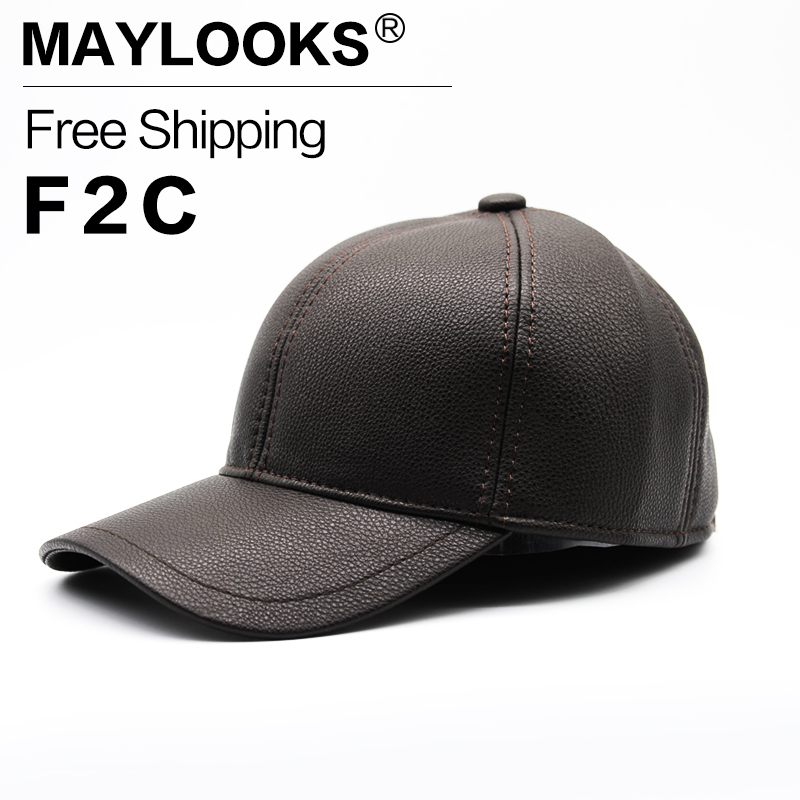 Maylooks 2017 New High Quality Unisex Cap PU Leather Solid Color HIP HOP Snapback Baseball Cap Sport Adjustable HAT CS59