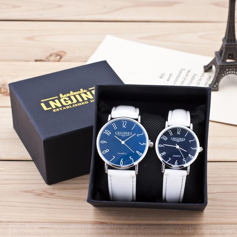 New Fashion Lovers Watches Men Women Quartz Wristwatch 2pcs Couple High Gloss Glass Leather Belt Watch Set Clock Contains Box
