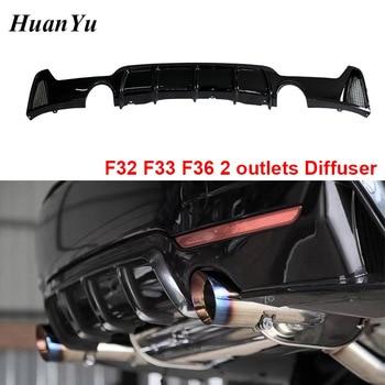 F32 Rear Bumper Diffuser voor BMW 4 Serie F32 Coupe F33 Convertible F36 Sedan 2 Outlets Rear Lip Spoiler M pakket 2014 +