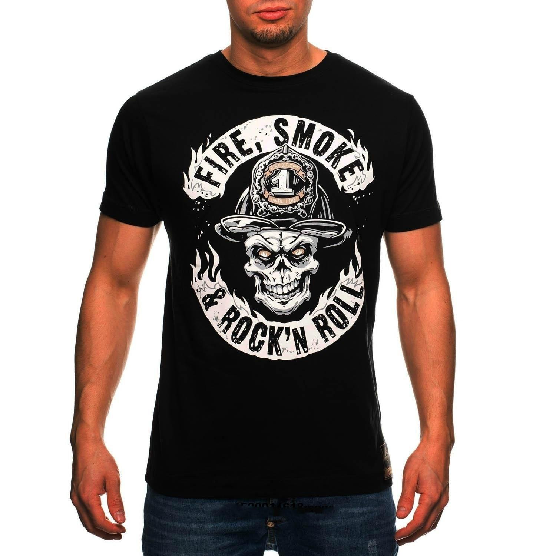 Пожарный Для мужчин пожарный Rock n Roll Для мужчинs футболка из 100% хлопка