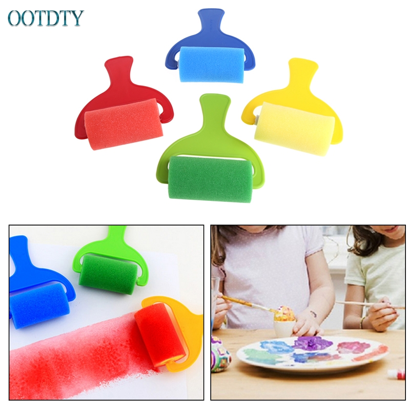 4Pcs Sponge Roller Stamper Foam Graffiti Paint Crafts Stamps Kids Toy Children #330