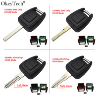 Okeytech 2 Button Remote Key Fob 433Mhz ID40 Chip For Opel Vauxhall Astra Vectra Zafira Omega