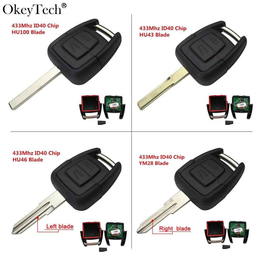 Okeytech 2 Knöpfen Fernschlüssel Fob 433 Mhz Id40-chip Für Opel Vauxhall Astra Vectra Zafira Omega Frontera HU46 Links Uncut klinge